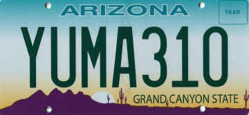 Yuma310 Arizona Grand Canyon State License Plate